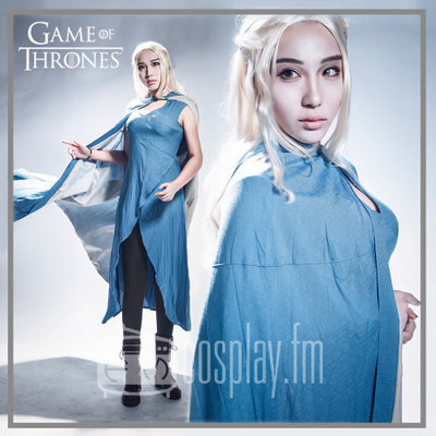 taobao agent Game of Thrones Power Dragon Mother cos suit Daenerys Targaryen blue dress