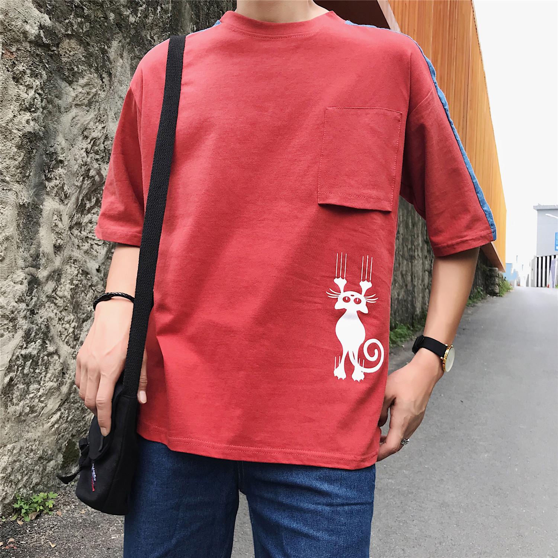2018夏款短袖T恤男士卡通印花P拼接潮流短t恤XZ408-2-S82-P35