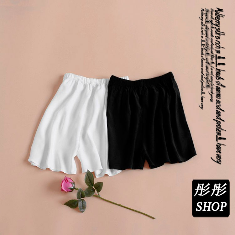 Xia 100 lụa lụa quần short nữ chống ánh sáng boxer đáy an toàn quần quần đa màu vào eo cao