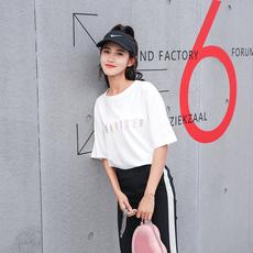 2018夏装新款时尚宽松百搭学生紫卫衣t恤女短袖上衣 夏夏