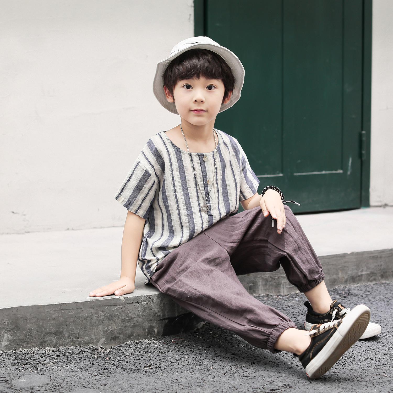TZ02/P40童装男童短袖T恤中大童麻棉套装新款半袖潮儿童T恤男蓝色