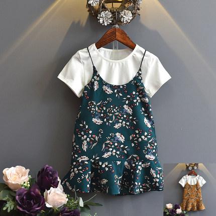 2018夏款儿童夏季新款女童套装童装短袖T恤吊带裙两件套装55