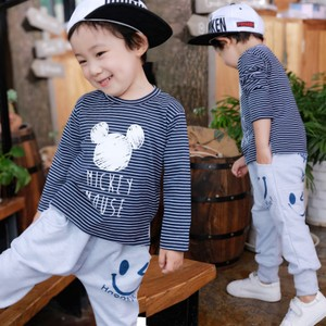 宅时尚2017早秋新款男童T恤韩版条纹米奇印花长袖打底中小童装