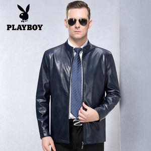 Playboy da người đàn ông da ngắn áo khoác da cừu mỏng trung niên nam cổ áo và nhung áo khoác da