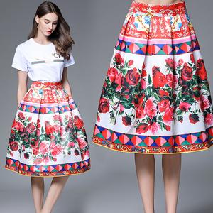 实拍637# 大牌D家玫瑰数码印花定位高腰半身裙 修身大摆蓬蓬裙