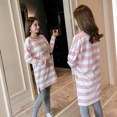 实拍孕妇装春秋装宽松中长款长袖打底T恤连衣裙刺绣字母条纹上衣