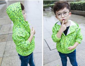 宅时尚2017春装新款外套 韩版时尚领个印花连帽中小童男冲锋童装