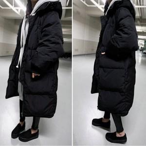2018 Hàn Quốc kích thước lớn lỏng xuống bông của phụ nữ phần dài trên đầu gối bf sinh viên áo khoác vài dày bánh mì