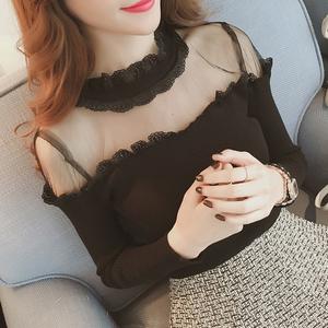 373#秋冬新款2017韩版拼接蕾丝打底衫修身显瘦女套头针织衫潮