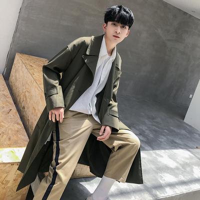 2018 mùa xuân mới thời trang phiên bản dài trên đầu gối áo khoác nam xu hướng Hàn Quốc phiên bản của mỏng mỏng phần áo khoác màu rắn Áo gió