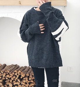 Vòng cổ mới lỏng bat tay áo nam áo len Hàn Quốc phiên bản của xu hướng áo len ulzzang những người yêu thích dài tay áo