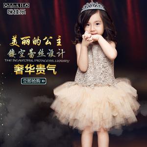 2016新款夏季公主裙女童连衣裙夏装儿童韩版纯棉无袖蕾丝蓬蓬裙子