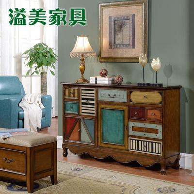 美式乡村复古做旧板木鞋柜 玄关柜 电视柜欧式斗