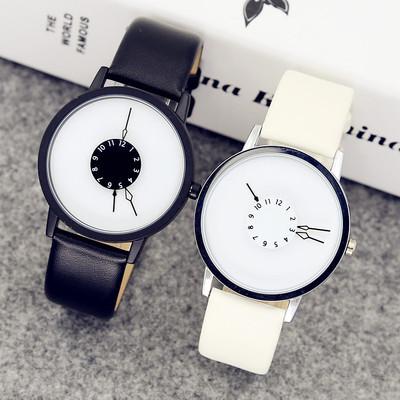 生日韩版时尚简约潮流原宿男女中学生创意手表男个性概念情侣手表一对用心
