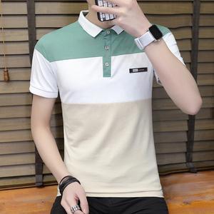 2018夏季男式T恤短袖修身时尚撞色翻领Polo衫学生小清新上衣服205