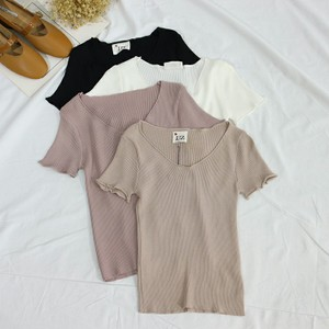 II3-3 Ba mảnh mùa hè ăn mặc mới V-Cổ áo sơ mi ngắn tay của phụ nữ slim slimming áo len hoang dã 39659