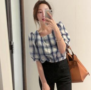 2018夏装新品 复古方领格纹泡泡短袖百搭衬衫2558