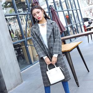 女装秋冬2017新款复古格子韩国中长款过膝毛呢子外套韩版宽松大衣