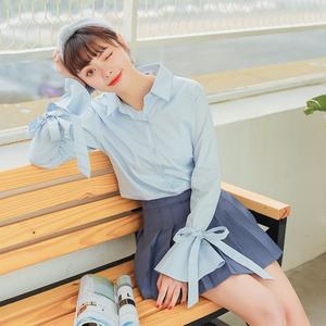 质检+实拍2018春夏韩国chic风绑带蝴蝶结喇叭袖气质衬衣女