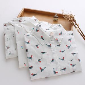 (实拍) 新款日系小清新文艺 卡通印花翻领长袖衬衫女装学生衬衣