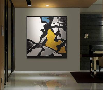 简约现代新中式水墨抽象装饰画家居沙发背景墙
