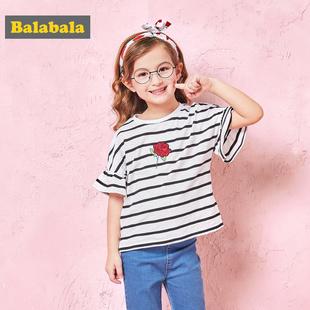 巴拉巴拉 宝宝条纹圆领短袖T恤