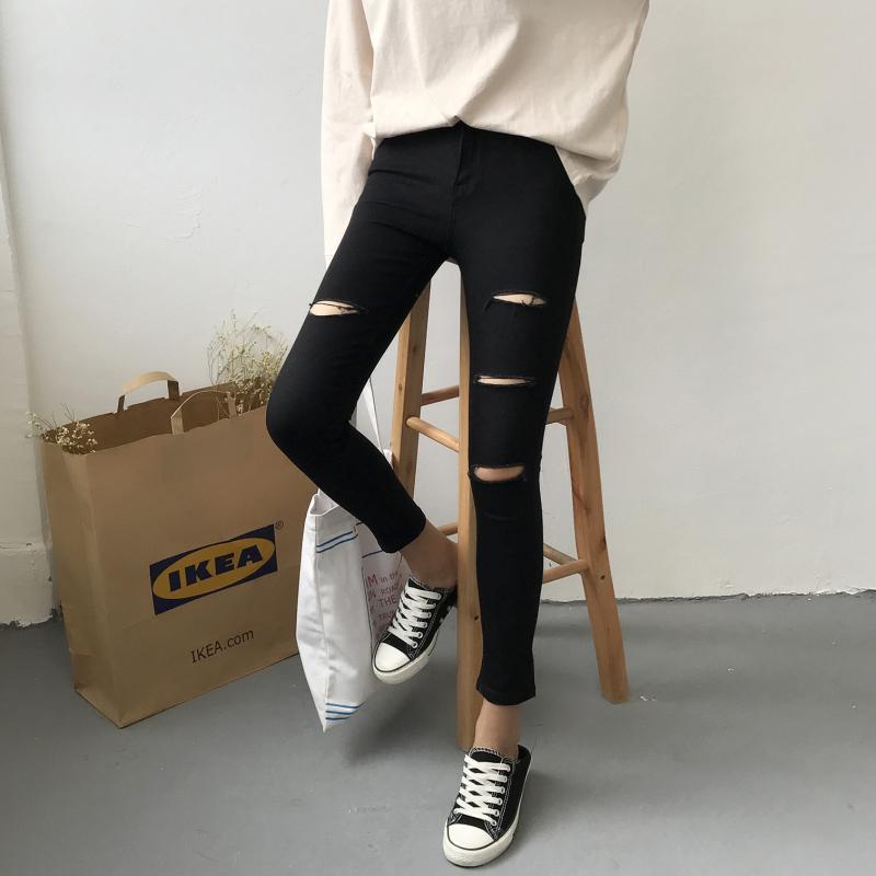 (现货)828【模特实拍】2018春季黑色破洞九分牛仔小脚铅笔裤女