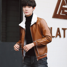 男士外套男春秋季新款韩版潮流修身冬季加绒棉衣服男皮衣夹克860#