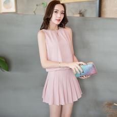 实拍~春夏新款女装气质雪纺上衣百褶裙裤两件套裙套装女#6011