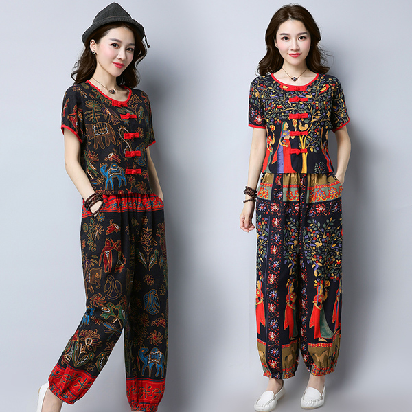 Summer New National Wind Retro Cotton And Linen Printed Shirt With Pant Suit