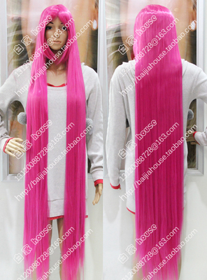 taobao agent 1.5m pink wig 1.5m 5 rose red long straight hair 150CM high temperature silk anime COS wig