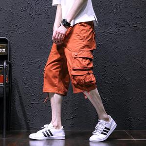 18夏工装裤子宽松短裤男式多口袋中裤休闲运动型七分裤男613-P45