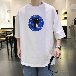 夏装新款时尚小清新学生宽松圆领纯色印花短袖T恤潮T81 P25