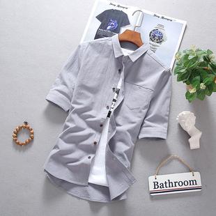 夏季五分袖衬衫男士亚麻短袖衬衣纯色棉麻中袖上衣服休闲潮流男装