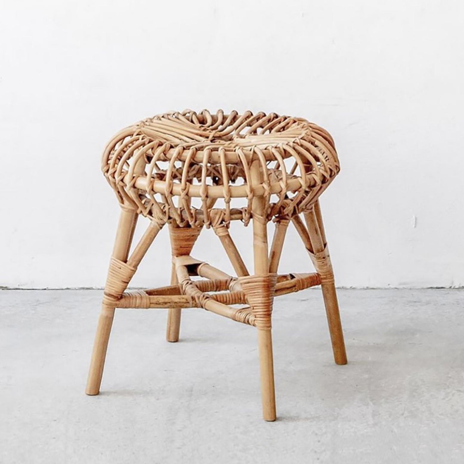 久伴INS北欧藤编凳餐厅客厅民宿咖啡馆茶几凳子换鞋凳餐桌椅凳子_图1