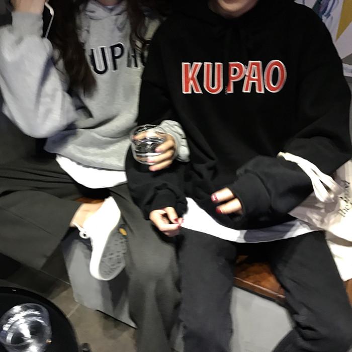 实拍实价~鬼马系少女韩国复古减龄字母印花宽松连帽加绒卫衣9339#