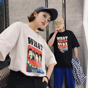 (女装)2018新款情侣装夏装口袋卡通袖拼接短袖T恤A358-1113-p38