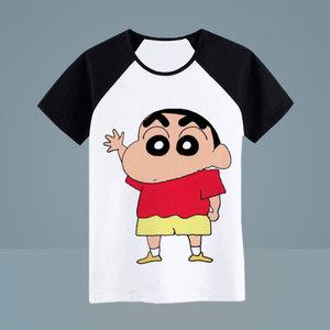 Crayon những người yêu thích phim hoạt hình mùa hè ngắn tay lỏng lẻo đàn ông kích thước lớn và phụ nữ sinh ở trẻ em ngoại vi hoạt hình quần áo Q
