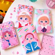Dễ thương cô gái gói thẻ phim hoạt hình mềm chị hộ chiếu túi sinh viên Hàn Quốc da nữ du lịch túi tài liệu đa chức năng ví