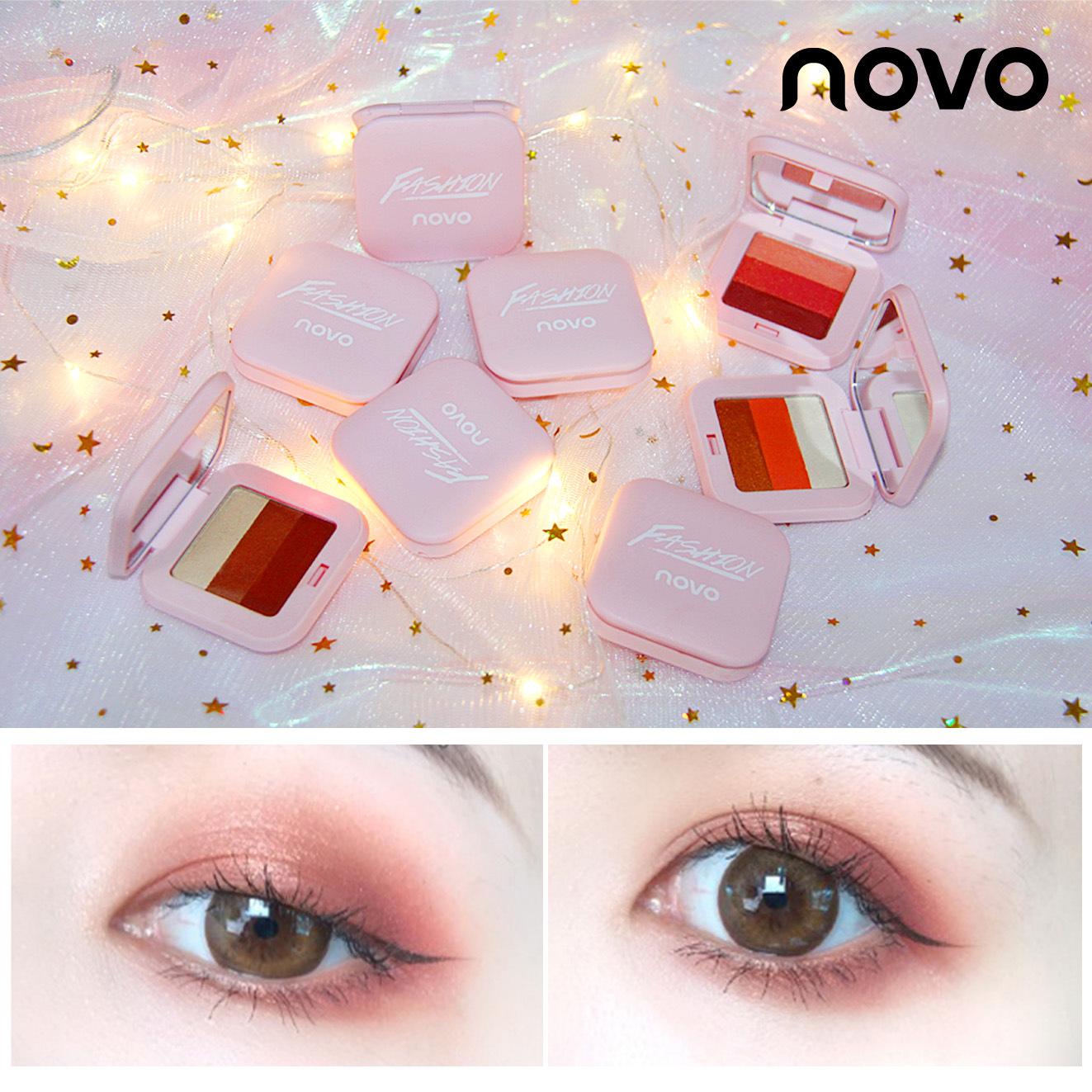 Novo thông minh ba màu gradient bóng mắt bột tốt không bay bột dễ dàng để màu bí ngô màu rượu vang đỏ 5210 #