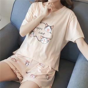Đồ ngủ mùa hè của phụ nữ ngọt ngào ngắn tay Hàn Quốc phiên bản của bộ tươi hai mảnh sinh viên lỏng công chúa nhà dịch vụ có thể được đeo