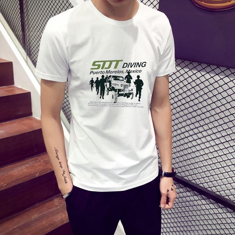 夏季男士短袖T恤潮个性青少年青春范短袖上衣圆领帅气T恤
