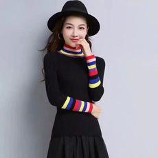 2018秋季新款韩版时尚黑色高领套头毛衣女修身条纹打底针织衫潮
