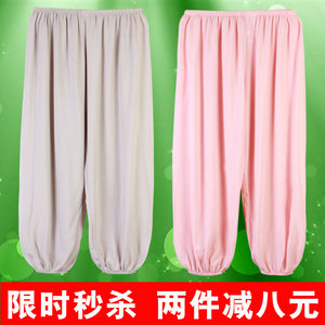 Nam giới và phụ nữ mùa hè kích thước lớn lỏng ngủ quần phần mỏng cây ra hoa người lớn bông chống muỗi quần trẻ em bông lụa tập thể dục quần áo