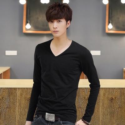 Nam dài tay T-Shirt nam màu rắn V-cổ áo sơ mi đáy áo mùa thu Mỏng người đàn ông Hàn Quốc của quần áo tops quần áo 9.9 nhân dân tệ áo thun nam dài tay Áo phông dài