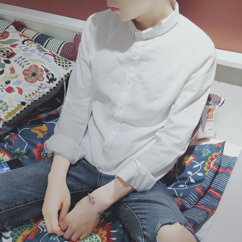秋季白襯衫男長袖 純色休閑男士小領亞麻襯衣潮流韓版ins學院風