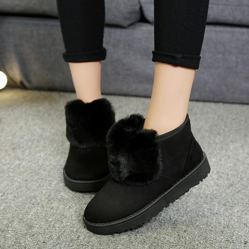 2018冬季新款韩版百搭雪地靴女鞋加绒保暖短筒棉鞋学生平底短2214