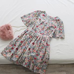 TOMATO SHOP Miễn phí Đăng ~ Hàn Quốc Hoa hậu Chị Phong cách ~ Vintage Floral Print Short Sleeve Dress