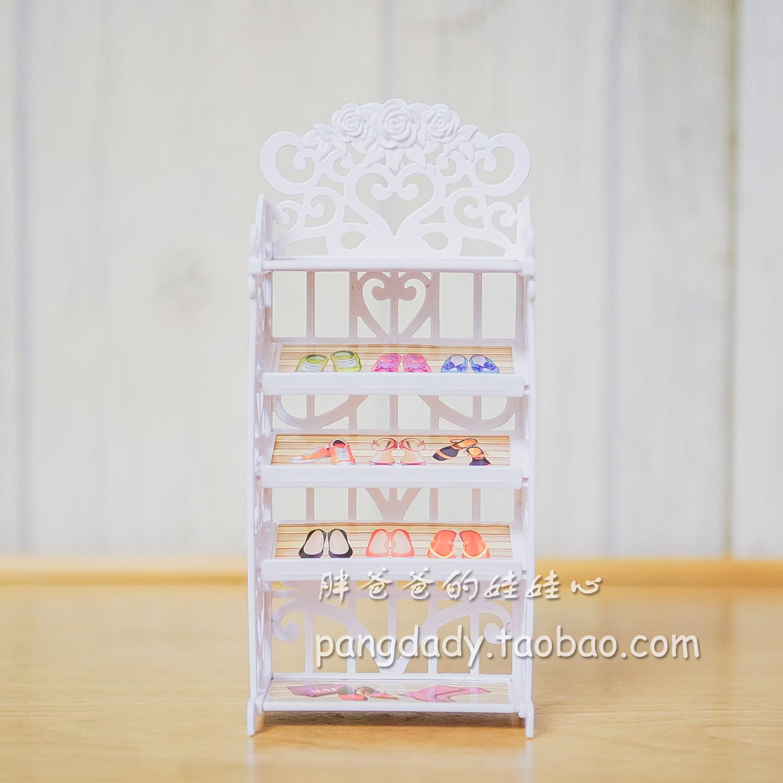 30 cm6 điểm búp bê Barbie Blythe phụ kiện búp bê đồ nội thất giá Giày giá giày tủ giày chơi nhà đồ chơi