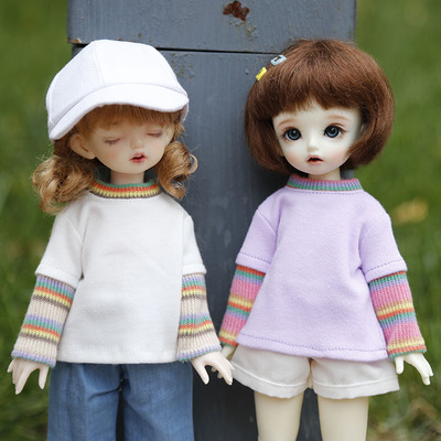 taobao agent 6 points BJD baby clothes SD doll sweater cute casual loose daily style contrast color stitching sleeve clothes in stock